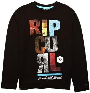 Rip Curl Block Script Long Sleeve Boy's T-Shirt Black 12 Years