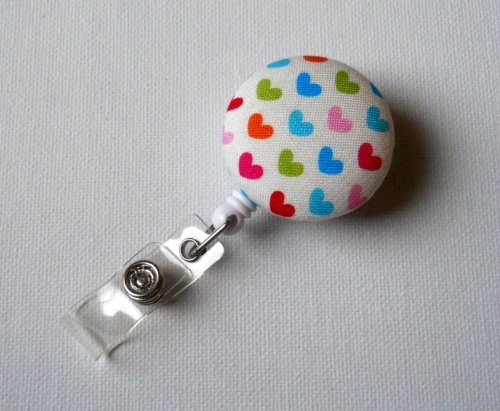 Colorful Hearts - Name Badge Holder - Retractable ID Badge Reel - Cute ID Badge Clip - Badges - Fabric Badge Pull - Pediatric Badge