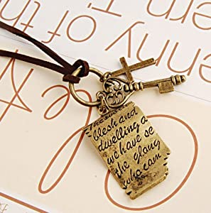 Buyinhouse Antique Vintage Retro Shakespeare Love Letters Cross Key Pendant Leather Rope Necklace