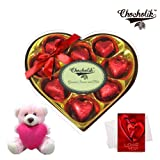 Chocholik Luxury Chocolates - Delightful Chocolates Wrapped Chocolates With Teddy And Love Card