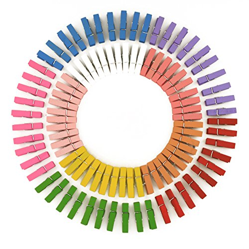 100pcs Photo Paper Peg Pin Clothespin Craft Mini Colorful Natural Wooden Clips