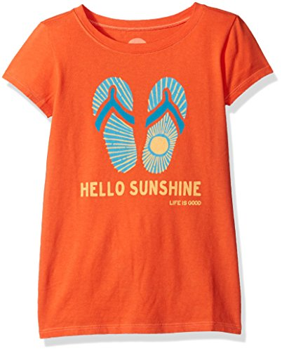 Life is good Girl's Flip Flops Sun Tee, Coral Orange, Large (Life Is Good Kids compare prices)