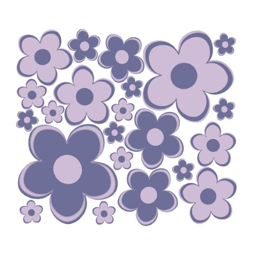 Purple Fun Flowers Sm Retro Flowers Wall Sticker Decals - 1