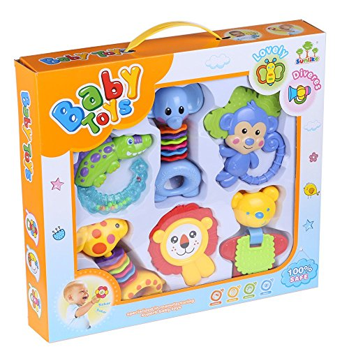 Baby-6pcs-Hand-Shake-Rattles-and-Teethers-Educational-learning-Toy-Set