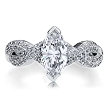 buy Berricle Sterling Silver Marquise Cubic Zirconia Cz Solitaire Woven Promise Engagement Wedding Ring