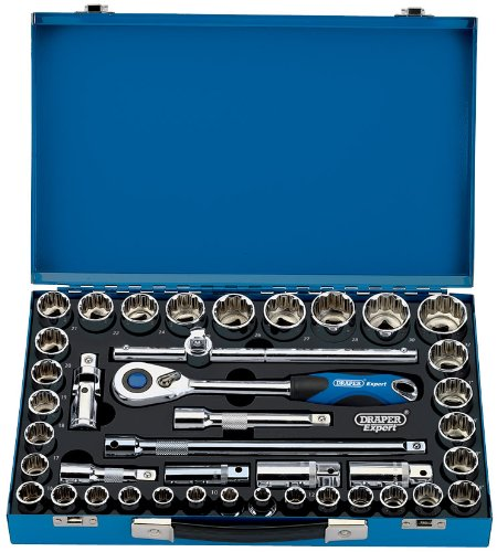 Draper 43636 1/2 inch Socket Set in 12-Point Metal Case - 41 Pieces
