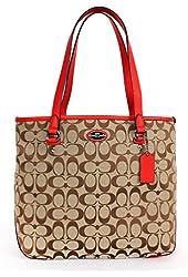 Coach 36375 Signature Zip Top Tote Shoulder Bag Khaki/cardinal