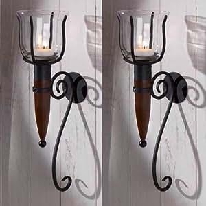 wandteelichthalter antik windlicht fackel 2x wandkerzenhalter wand kerzenhalter teelichterhalter. Black Bedroom Furniture Sets. Home Design Ideas