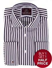 Sartorial Pure Cotton Shadow Striped Shirt