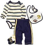51oVvmjYgEL. SL160  Vitamins Playwear Baby boys Newborn Football 4 Piece Pant Set, Navy/Yellow, 9 Months