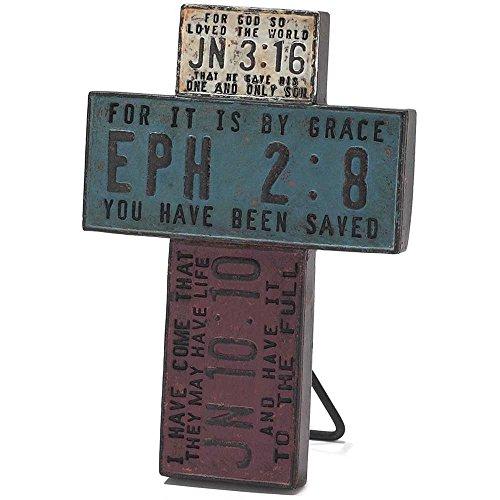 License Plate Tabletop Cross - Ephesians 2:8