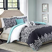 5pc Beautiful Black Damask King Comforter Set