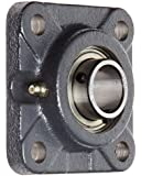 "Hub City FB250URX1 Flange Block Mounted Bearing, 4 Bolt, Normal Duty, Relube, Setscrew Locking Collar, Narrow Inner Race, Cast Iron Housing, 1"" Bore, 1.398"" Length Through Bore, 2.756"" Mounting Hole Spacing"