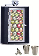 Colorful owl Custom Personalized Printed 6oz Black Faux Leather Hip Flask