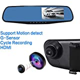 IsYoung 4.3inch HD Rearview Mirror Dual Channer Recorder With 170-degree Wide Angle Lens 1080P Car Video Camera...