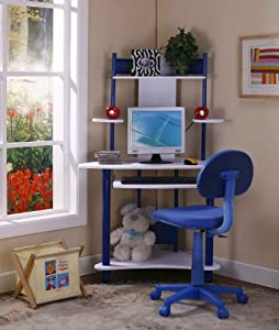 Kings Brand Blue Finish Corner Workstation Kids Children's Computer Desk & Chair from Kings Brand Furniture