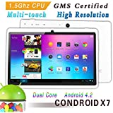Condroid ® 7'' GMS certified by Google White Dual Core 1.5 GHz Condroid X7 Google Android 4.2 Tablet PC, Dual Camera, HD 800x480, 8GB, Google Play Pre-load, HDMI (Allwinner A23)