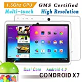 Condroid ® 7 GMS certified by Google White Dual Core 1.5 GHz Condroid X7 Google Android 4.2 Tablet PC, Dual Camera, HD 800x480, 8GB, Google Play Pre-load, HDMI (Allwinner A23)