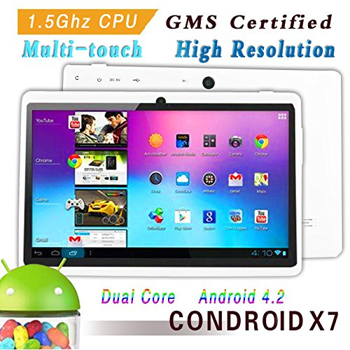 Condroid ® 7' GMS certified by Google White Dual Core 1.5 GHz Condroid X7 Google Android 4.2 Tablet PC, Dual Camera, HD 800x480, 8GB, Google Play Pre-load, HDMI (Allwinner A23)