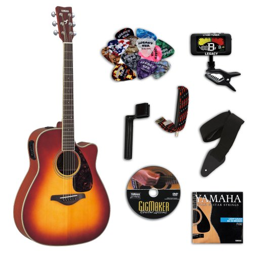 Yamaha FGX700SC Brown Sunburst Folk Acoustic-Electric Guitar Bundle w/Legacy Kit (Tuner,DVD & More)