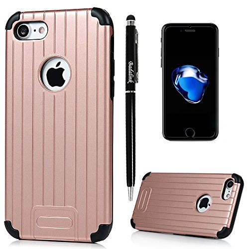 iPhone 7 Case (4.7 inch) - Armor Trunk Case Series Shockproof Soft TPU Inner Bumper + Hard PC Back Shell Slim 2 in 1 Hybrid Dual Layers High Impact Full Edge Protective Cover by Badalink - Rose Golden
