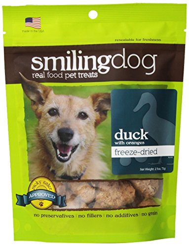 Herbsmith Smiling Dog Freeze Dried Duck With Orange Treats For Dogs And Cats 2.5-Ounce