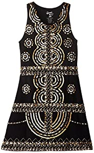 Flowers by Zoe Big Girls' Dress with Gold Sequin, Black, X-Large