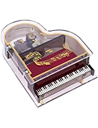 Clear Acrylic Baby Grand Piano Musical Jewelry Box - Plays Song Fur Elise