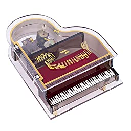 Clear Acrylic Baby Grand Piano Musical Jewelry Box - Plays Song Memory