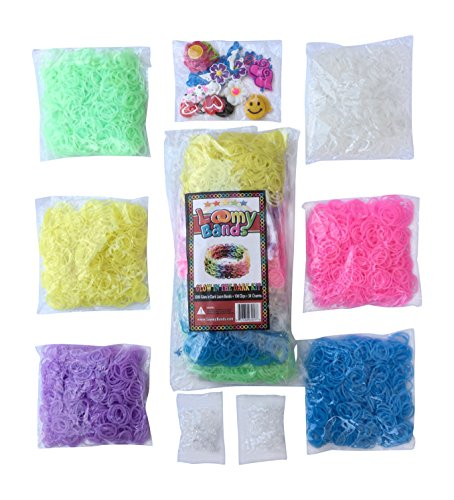 Loom Bands - 3000 Glow in the Dark Rainbow Loom Refill Kit - 6 Vibrant Neon Colors That Glow! - Inlcudes FREE 100 Clips and 30 Rainbow Loom Charms! - Refill your Loom Bands Organizer in Glowing Fashion! 50% OFF RETAIL PRICE!
