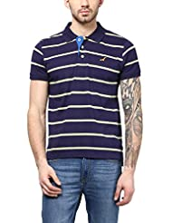 American Crew Men's Polo Collar Stripes T-Shirt (Navy Blue & Light Green)