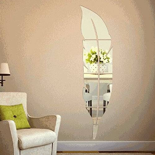 Gillberry Feather Mirror Surface Wall Stickers DIY Acrylic 3D Home Decal (left)
