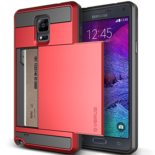 Galaxy Note 4 Case, Verus [Card Slot Case] Samsung Galaxy Note 4 Case [Damda Slide][Red] Slim Fit Dual Layer Protective Card Slot Case - Verizon, At&T, Sprint, T-Mobile, International, And Unlocked - Case For Samsung Galaxy Note Iv Sm-N910S Late 2014 Mode