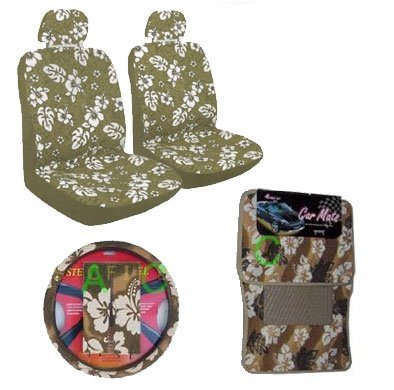 11 Piece Hawaiian Auto Interior Gift Set - Tan Hawaii Hibiscus Floral print : 2 Low Back Seat Cover, 2 Headrest Cover, Steering Wheel Cover, 2 Shoulder Harness Pressure Relief Cover, 2 Front Floor Mat and 2 Rear Floor Mat - Tan