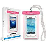 FRiEQ Universal Waterproof Case for Apple iPhone 6, 6P, 5s, 5, Galaxy S6, S5, S4 S3, HTC One X, Galaxy Note 3, 2 - IPX8 Certified to 100 Feet (Hot Pink)