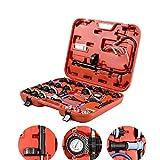 28 PCS Universal Radiator Pressure Tester Leak Checker Kit,Coolant Vacuum Type Cooling System Automotive Radiator Pressure Test Kit Purge and Refill Kit Coolant Pressure Tester,w/Case,0-35 psi (Color: Red)