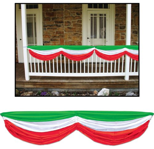 Red, White & Green Fabric Bunting Party Accessory (1 Count) (1/Pkg) front-900242