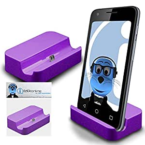 Purple Micro USB Sync & Charge / Charging Desktop Dock Stand Charger For Samsung Galaxy J2 (2016)