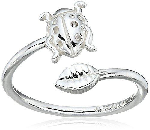 Alex and Ani Women's Ring Wrap Ladybug Rafaelian Silver adjustable