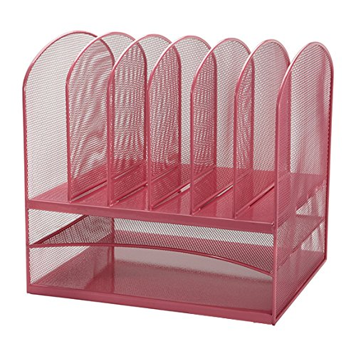Adir Mesh Desk Organizer - Paper Organizer - Desktop File Holder - File Folder Holder - Letter Tray - File Organizer - with Two Horizontal and Six Upright Section - Pink Color Elegant Desk Accessories