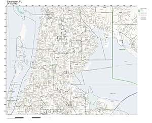 Amazon Com Zip Code Wall Map Of Clearwater Fl Zip Code
