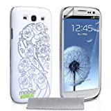 """Samsung Galaxy S3 Tasche Wei� & Silber Rose Harte H�lle Mit Displayschutz Und Poliertuchvon """"Mobile Madhouse"""""""