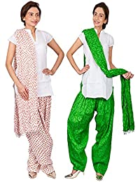 Womens Cottage Combo Pack Of 2 Printed Cotton Semi Patiala & Cotton Dupatta With Lace Set