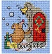 Mouseloft Mini Cross Stitch Card Kit - Christmas Party Mouse, Christmas Collection
