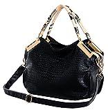 Miss Ying Women Alligator Animal Pattern Tote Style Black PU Leather Satchel Handbags