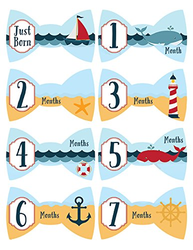 Tie Bowtie #266 Nautical Boy Baby Month Milestone Stickers Monthly Age