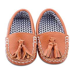 Chestnut Zig Leather and Fabric Lined Moccasin Shoes (0-6 Months)