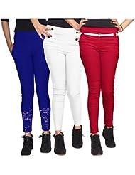 Xarans Stylish Looking Cotton Lycra Net, Button, Zip Jegging Set Of 3 Pcs - B01KJJAANS