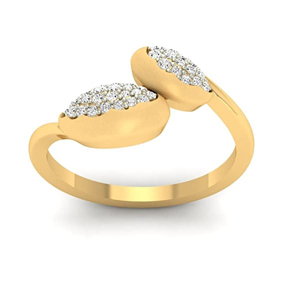 18K Yellow Gold 0.32cttw Round-Cut-Diamond (F-G Color, VS Clarity) Diamond Ring