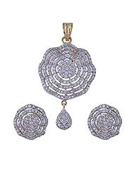 Nimbark Traders Brass And Metal White Color Designer Pendent Set With Earrings For Women - B00RFRGSLQ